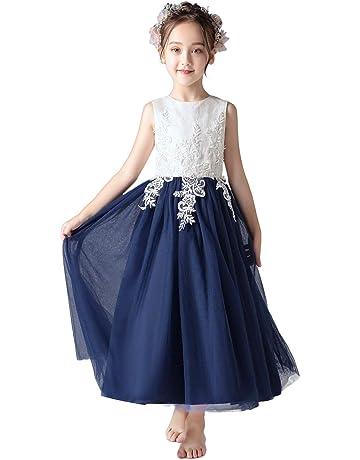 698e12aaca498 Weileenice® 子供服 女の子 ロングドレス フォーマル レース チュール プリンセス クリスマス ピアノ 発表会 結婚
