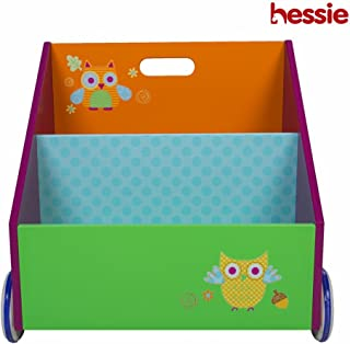 Hessie Pequeño niño pequeño empaqueta el estante/la estantería de madera portable en las ruedas, almacenaje del libro/estante, muebles de la biblioteca - Verde Búho (Trapezoidal Forma)