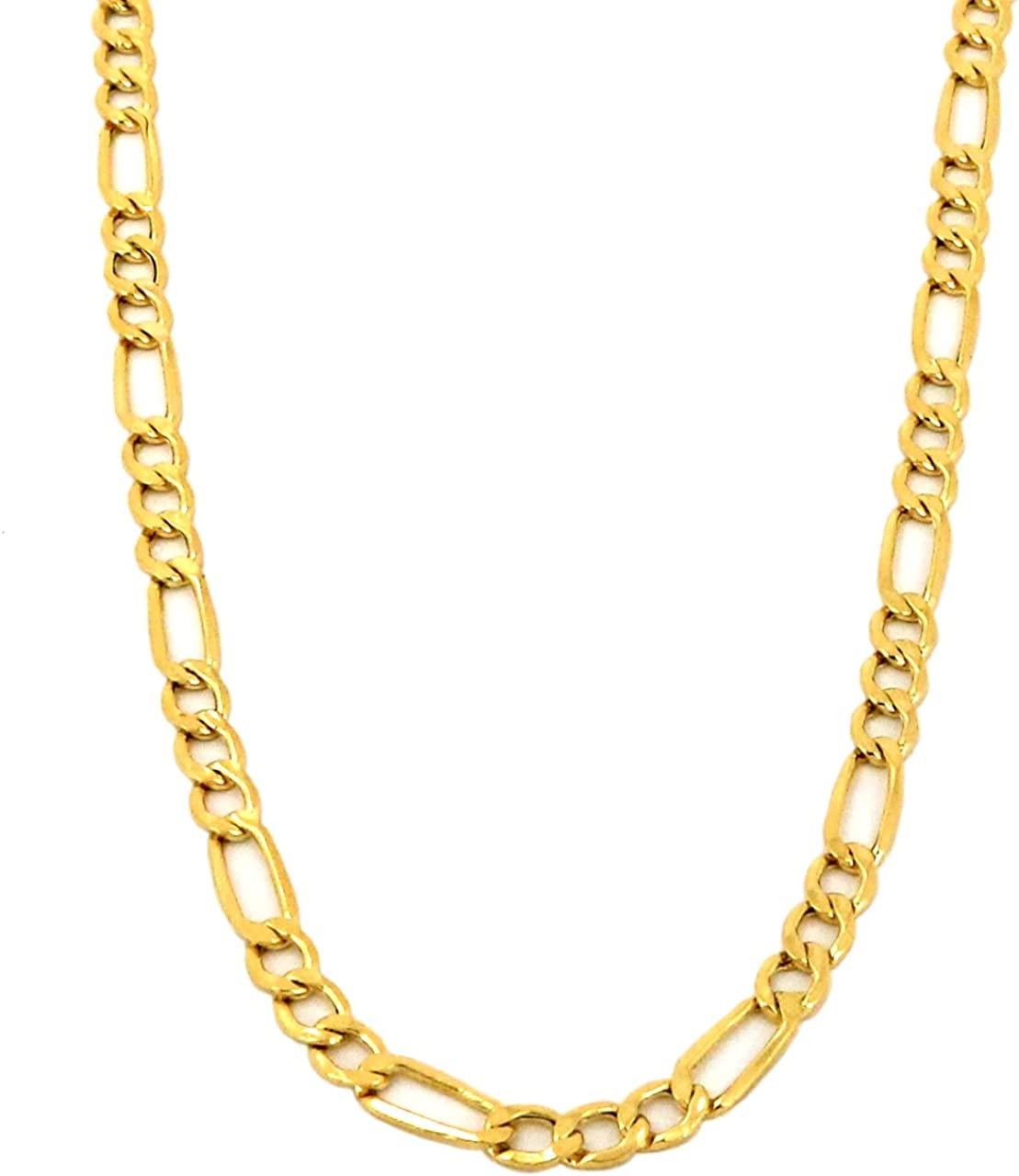 Yellow Gold Hollow Figaro Chain Real 10K Necklace 16