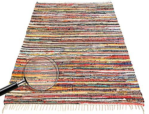 Flickenteppich groß, Fleckerlteppich, Webteppich, 160 x 230 cm, Kelim Teppich mit Fransen, Wohnzimmer Teppich bunt, Teppich Baumwolle & Polyester...