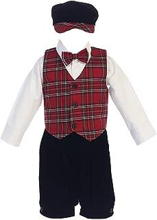 Little Boys Red Green Black Plaid Christmas Vest Pants/Knicker Set Infant to Boys