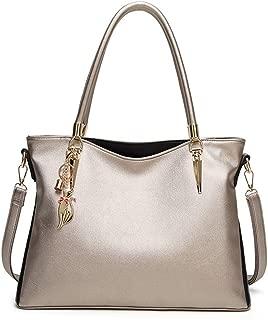 Sturdy Handbag Messenger Handbag Crossbody Handbag Women's Solid Color PU Leather Color Matching Tote Handbag Zipper Large Capacity Shoulder Handbag Large Capacity (Color : Gold)