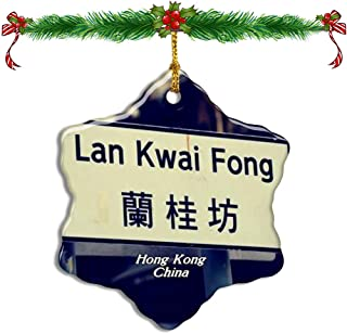 Fcheng China LAN Kwai Fong Hong Kong Christmas Ceramic Ornament Tree Decor City Travel Souvenir Double Sided Snowflake Sublimation Porcelain Hanging Ornament