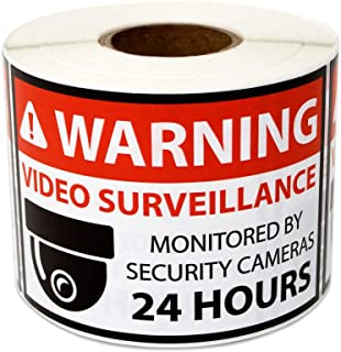 300 Labels - Warning Video Surveillance Stickers Monitored by Security Cameras 24 Hours for Surveillance Warning (3 x 2 in...