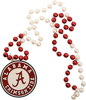 NCAA 2-Tone Mardi Gras Beads with Team Medallion - Alabama Crimson Tide