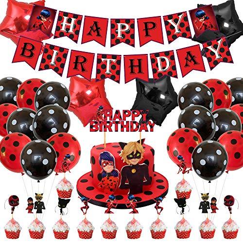 Ladybug - Suministros para fiestas milagrosas para mariquita, superhéroe, chica, niños, incluye pancartas con tema de mariquita y cupcakes, globos