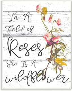 Stupell Industries Be a Wildflower Cursive Typography Wall Plaque Art, 10 x 0.5 x 15, Proudly Made in USA