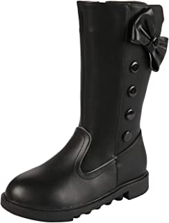 PPXID Girls Waterproof Leather Bowknot Side Zip Knee High Riding Boots