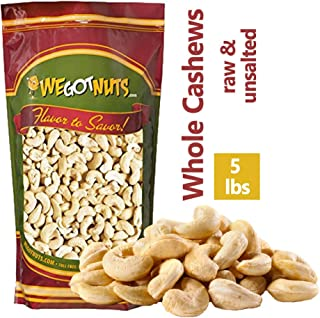 Cashews, Whole, Raw, 320, Bulk Nuts - We Got Nuts (5 LBS.)
