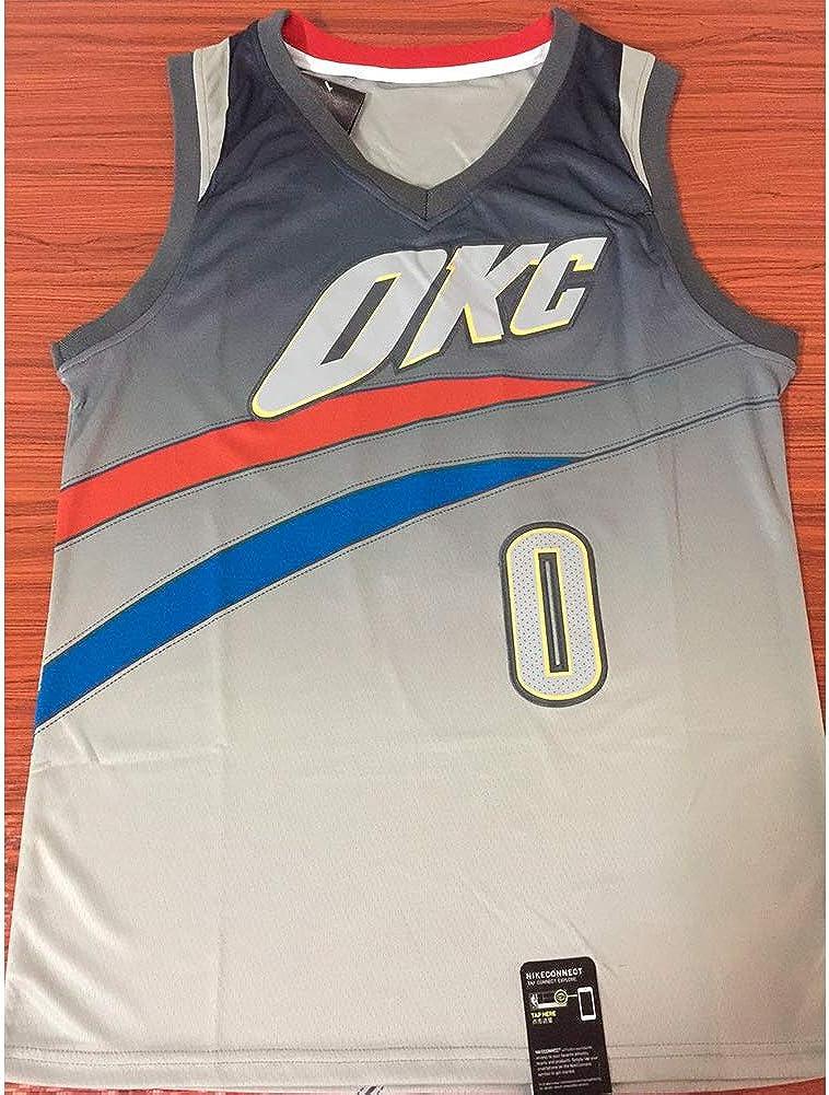 YIXUAN Hombres Jersey Camiseta Russell Westbrook Oklahoma City Thunder # 0 Camiseta de Baloncesto
