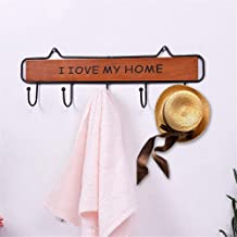 YWH-WH Wall Decoration Wall Hanging Ornaments, Set Of 2pcs Iron Hooks Board, I Love My Hoom Sign Bedroom Personality Wroug...