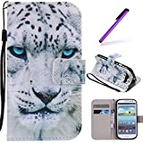 S3 Case,Galaxy i9300 Case LEECOCO Fancy Paint Floral Design Case [Credit Cards Slot] [Cash Pockets] PU Leather Flip Wallet Case with Stand for Samsung Galaxy S3 i9300,Blue Eyes Tiger