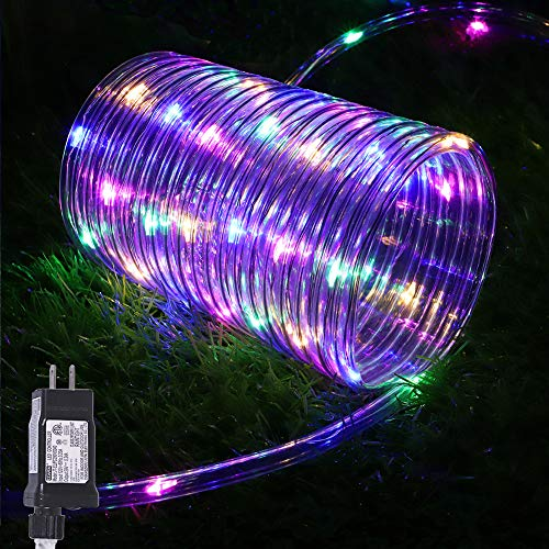 Hopolon Rope Lights Outdoor, 33ft 100LED String Lights Plug in Waterproof 8 Modes with Memory 4.5V UL Listed Power Supply for Home, Garden, Wedding, Party, Christmas Decor Indoor Outdoor(Multicolor)