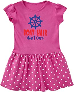 inktastic Boat Hair Don't Care, Steering Wheel - Red Blue Toddler Dress