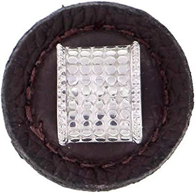 Large Vicenza Designs K1277 Tiziano Half-Cylindrical Round Leather Knob Antique Gold Brown