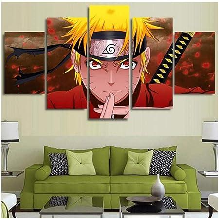 LFLYBCX Impression sur Toile Intissee 5 Pieces, Affiche De Personnage D'anime Naruto Sharingan, Tableaux Decoration Murale HD Photo, pour Le Salon Mur Art Children's Room,B-20×30×2+20×40x2+20x50×1