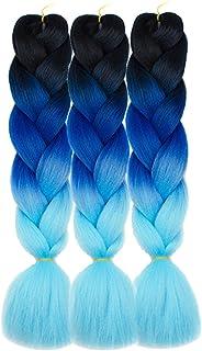 "Alissa Jumbo Braiding Hair Extensions High Temperature Kanekalon Synthetic Ombre Twist Hair Multiple Tone Colored Jumbo Braiding Hair (3pcs 24"", Black-Blue-Azure)"