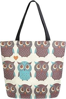 Reusable Grocery Shopping Bag Cute Cartoon Owl Bird Womens Canvas Tote Bags Foldable Shoulder Handbags