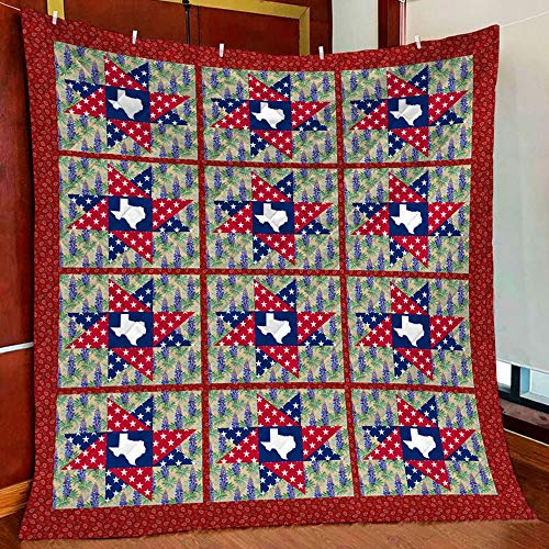 Texas Bluebonnet Pattern Quilt Blanket Outdoor Picnic Beach Blanket Twin Throw Queen King Size Bed Quilts Best Decorative for Bed, Couch, Sofa, Chair, Swing, Daybed, Home Decor