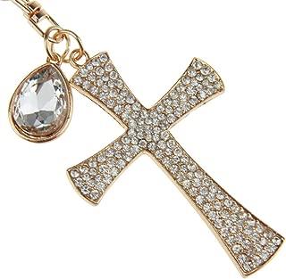 Creative 3D Handmade Blingbling Crystal Christian Cross Automatic Car Keys Ornaments Chic Women Ladies Girls Keychain Rhinestone Keyring Metal Key Buckle Loop Charm Pendent Gift