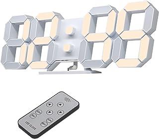 デジタル時計 LED時計 壁掛け時計 3D LED CLOCK 置き時計 目覚まし時計 音なし9.7インチリモコン付きナイトランプ年/月/日温度表示暖かい黄色のキッチン時計(ACアダプター付属無し) KOSUMOSU ACD-210