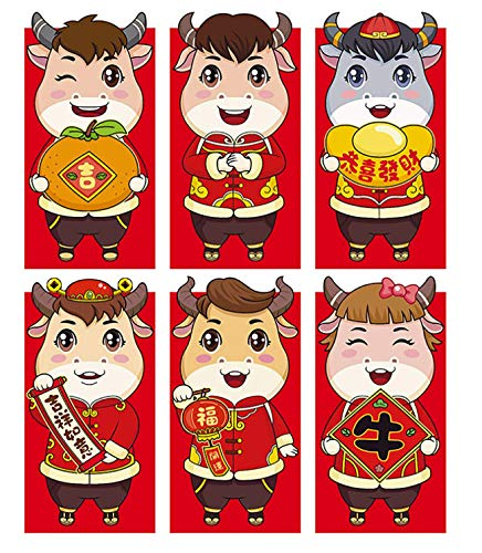 12 Pieces Chinese New Year Red Envelopes 2021 Chinese Red Packets with...