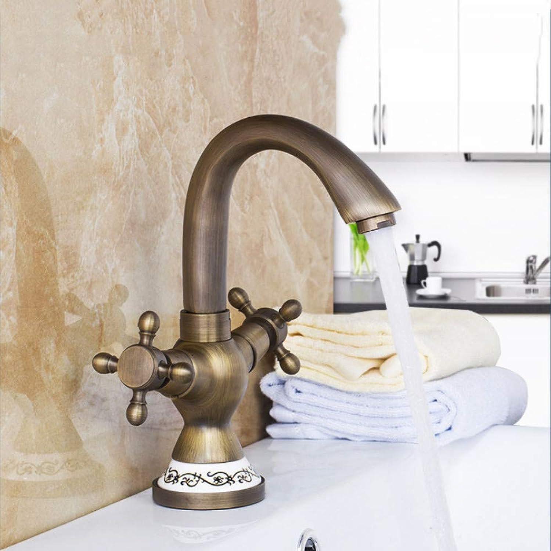 Antike Messing Keramik Mischbatterie Wasserhahn Einzigartiges Design Gedrehte Küche Swivel Dual Griffe Becken Waschbecken Swivel Wasserhahn