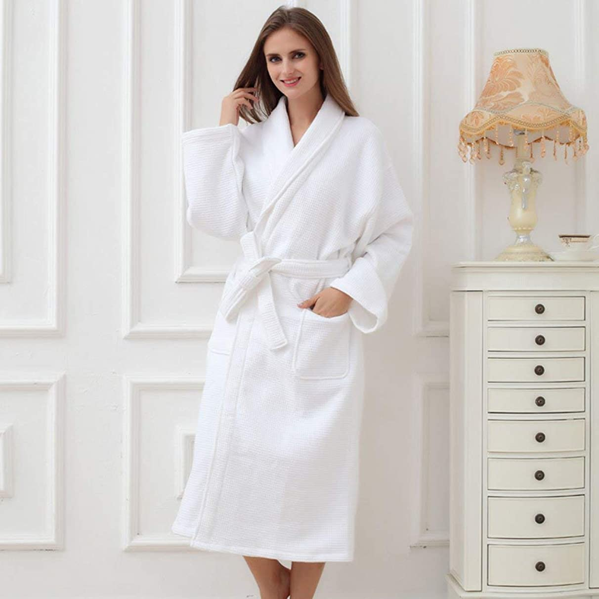 JZX Comfortable Home Pajamas Shop Cotton with Pockets Bathrobe- Winter Cotton Thickening Bathrobe Hotel Home Couple Nightgown Men's and Women's Home Clothes