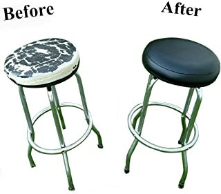 BAR Stool Cover for Kitchen Pub Exam Office - Easy Slip ON - Vinyl Replacement Seat Top with Extra Thin Padding & Elastic Band (14 inch Diameter, Black)