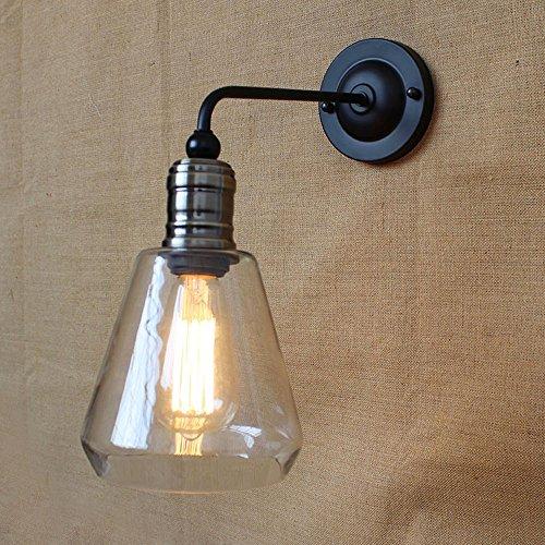 KMYX Vintage Glas Wandleuchte rustikale Land Metall Wandlampen Bar Schlafzimmer Badezimmer Treppe Spiegel Lampen Wandleuchten Loft Küche E27