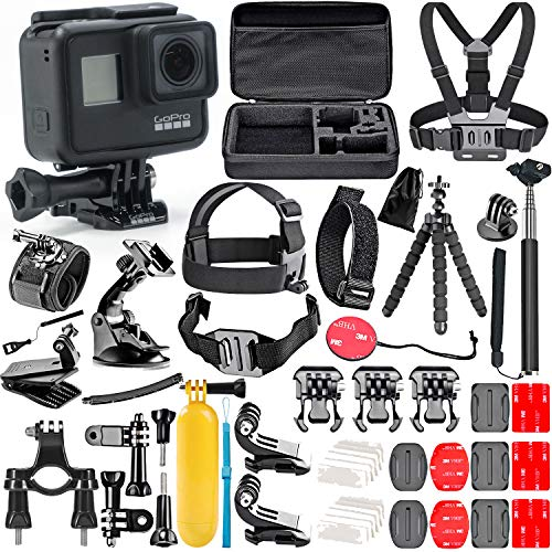 GoPro Hero 7 Black with 50 Piece Action Accessory Kit - Straps - Harnesses - Mounts - Adapters All-in-One Bundle