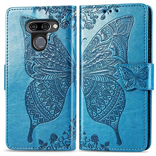 Bravoday Handyhülle für LG K50 Hülle, Stoßfest PU Leder Tasche Flip Hülle Schutzhülle für LG K50, mit Kartenfäch und Kickstand, Blau