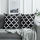 MIULEE 2er Pack Leinenoptik Home Dekorative Kissenbezug Geometrisches Kissen Kissenhülle für Sofa Schlafzimmer mit Reißverschlüsse Schwarz 18 x 18 inch 45 x 45 cm