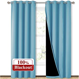 NICETOWN 100% Blackout Curtains 84 inches Long, Pair of Energy Smart & Noise Blocking..
