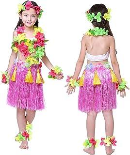 Falda de hierba hawaiana para niños y niñas, de colores, con diseño de flores, para fiesta de playa, 40 cm, 8 piezas