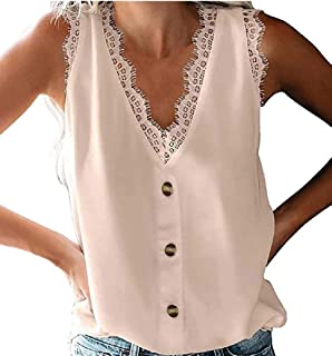 GAGA Women V Neck Lace Trim Button Down Tank Tops Casual Loose Sleeveless Blouse Shirt