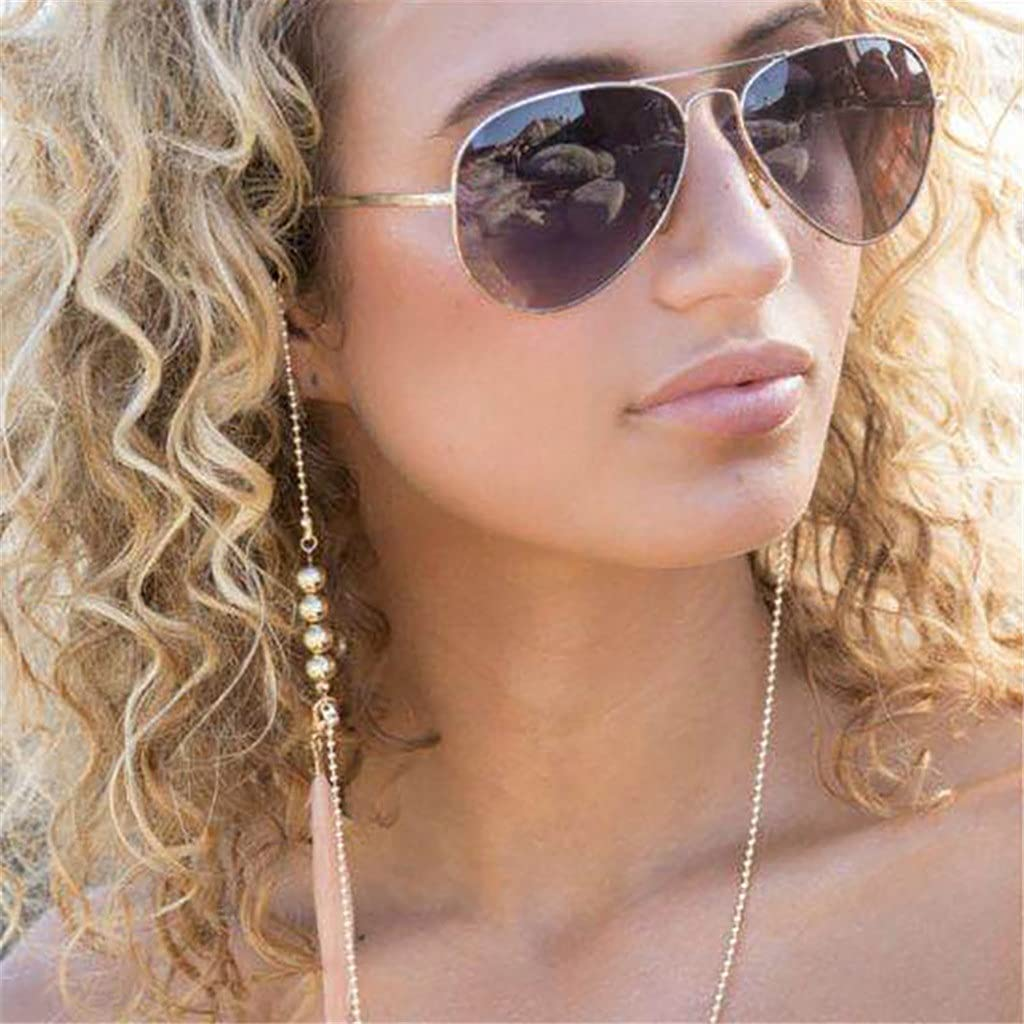 SSMDYLYM Bohemia Pink Feather Glasses Chain Round Beads Lanyard Hold Straps Cords Sunglasses Women Accessories (Color : A, Size : Length-70CM)