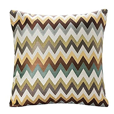 SimpleDecor Jacquard Chevron Pattern Cushion Covers Decorative Pillowcases Multicolor 18X18 Inch Multicolor