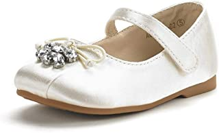 Dempsey Marie Girls Elegant Ballerina Slipper with Sheer Organza Flower and Pearl Accents