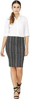 FRANCLO Women's multicolur Striped Formal Skirt