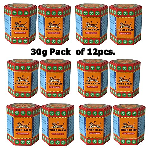 Tiger Balm Red Wholesales Bulk Buy Ointment for Muscalar Aches and Paints Herbal Rub Headache Pain Relief Big Jar (Thailand), 30g Pack of 12 pcs