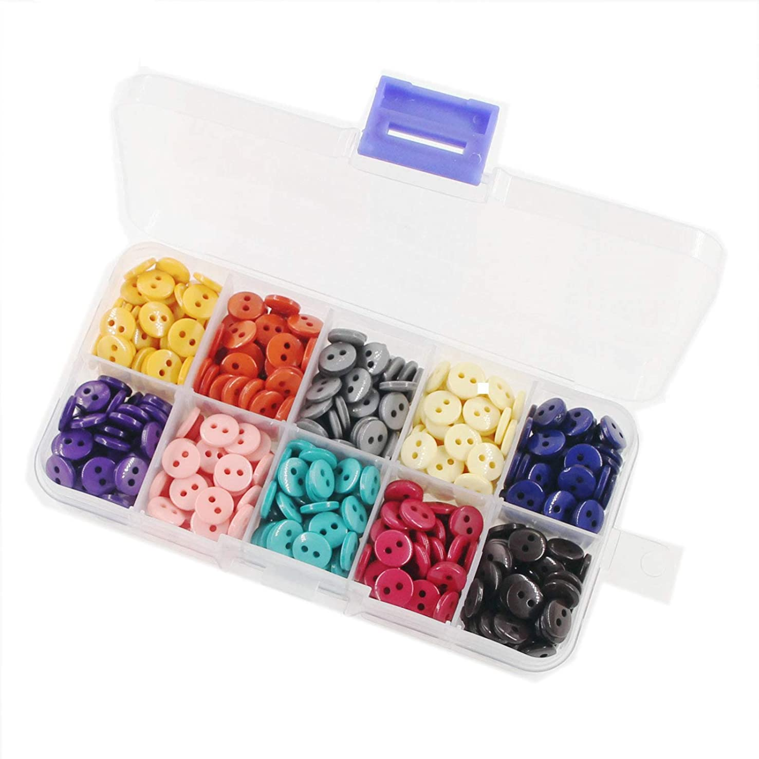 11.5mm (0.43'') 10 Colors Round Resin Sewing Buttons Multi Colors Pack of 350 Pcs with Box Leekayer