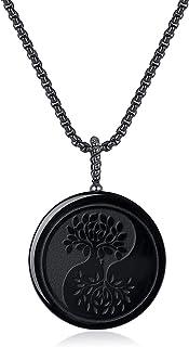 COAI Religious Jewelry Cross Obsidian Stone Pendant Necklace