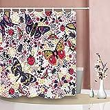 Tier Duschvorhänge Blume Schmetterling Bug Marienkäfer Käfer Schwalbenschwanz wasserdichte Badezimmer Gardinen