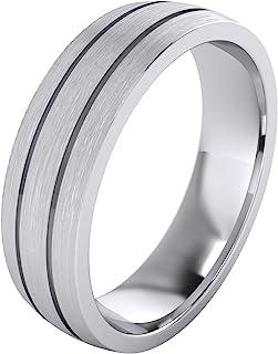 خاتم زفاف للجنسين من الفضة الإسترلينية 6 مم بتصميم فخم مناسب لخاتم مقبب ذو سطح مصقول