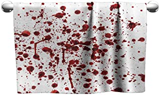 Mannwarehouse Bloody Soft Superfine Fiber Bath Towel Splashes of Blood Grunge Style Bloodstain Horror Scary Zombie Halloween Themed Print W10 x L10 Red White