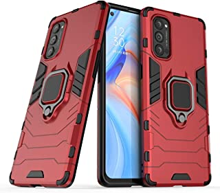 FanTing Case for Oppo Reno4 Pro 5G, Rugged and shockproof,with mobile phone holder, Cover for Oppo Reno4 Pro 5G-Red