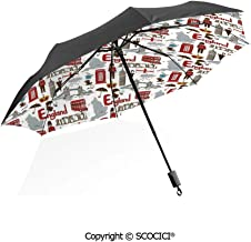 SCOCICI High Grade Portable Sun Umbrella Classical Icons Retro Silhouette Outline Style with Flag Colors for Women Compact Windproof Travel Folding Umbrellas