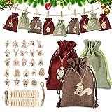 Sunshine smile 24 Bolsas de Tela navideñas,Calendario de Adviento,Bolsa de Regalo Navidad,Bolsas de Yute para Rellenar,Calendario Adviento Navidad,DIY Bolsa para Regalo (A)