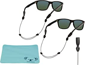 Chums Orbiter Adjustable Eyewear Retainer Wire Sunglass Strap | Thin Eyeglass and Sports Glasses Cable Holder Keeper Lanyard | 2pk Bundle + Cloth